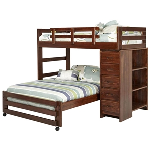 Twin Over Full Loft Bedroom Set - Chest, Bookcase, Dark Brown