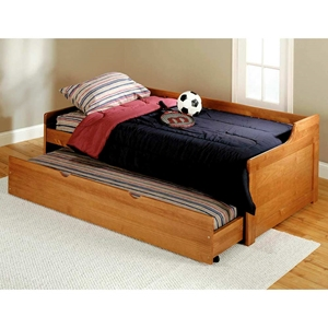 Twin Wooden Bed - Trundle Unit, Honey Finish