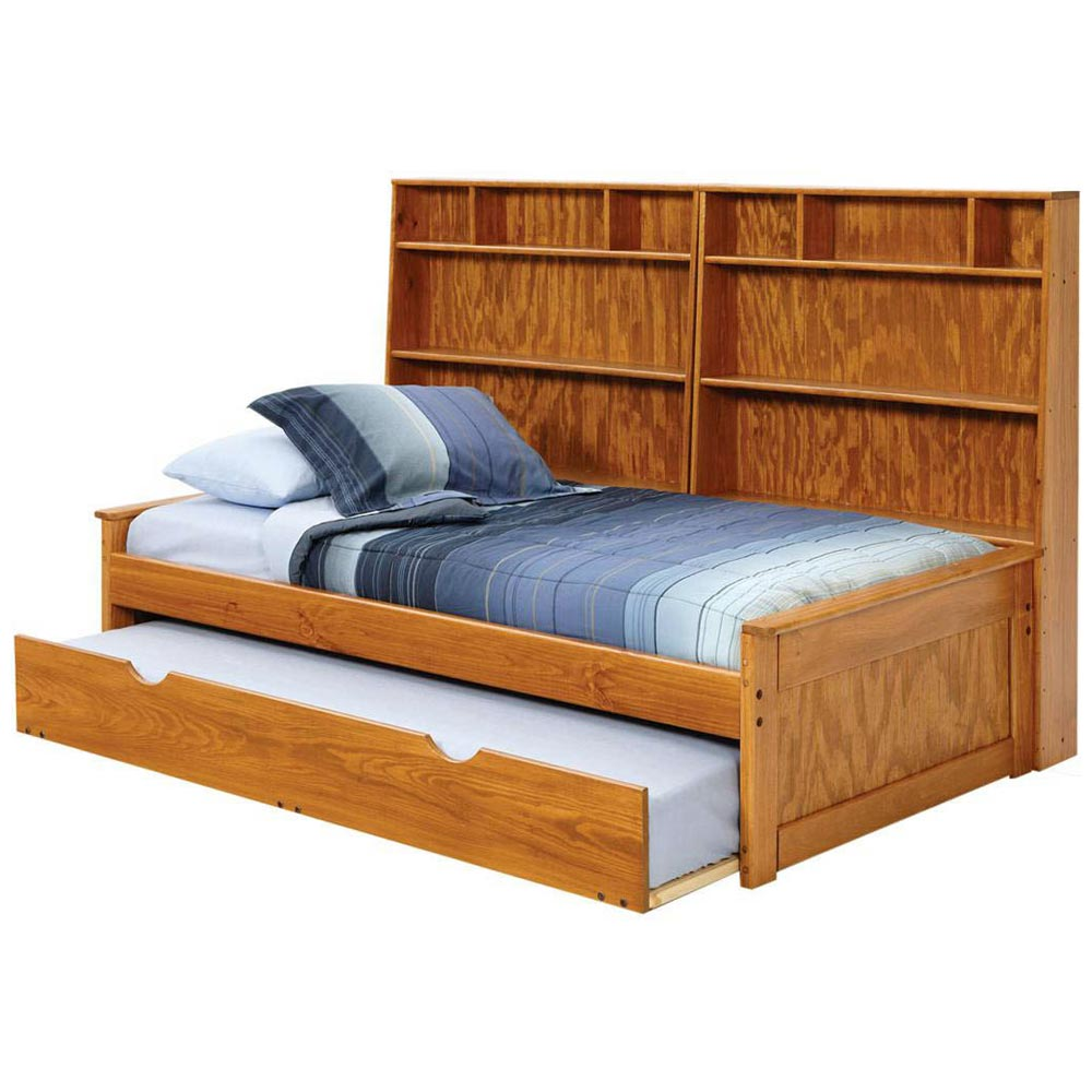 Bookcase Twin Bed Honey Finish