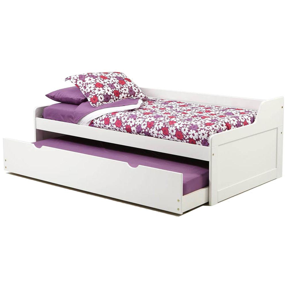 Twin wooden bed trundle unit white finish dcg stores White twin trundle bedroom set