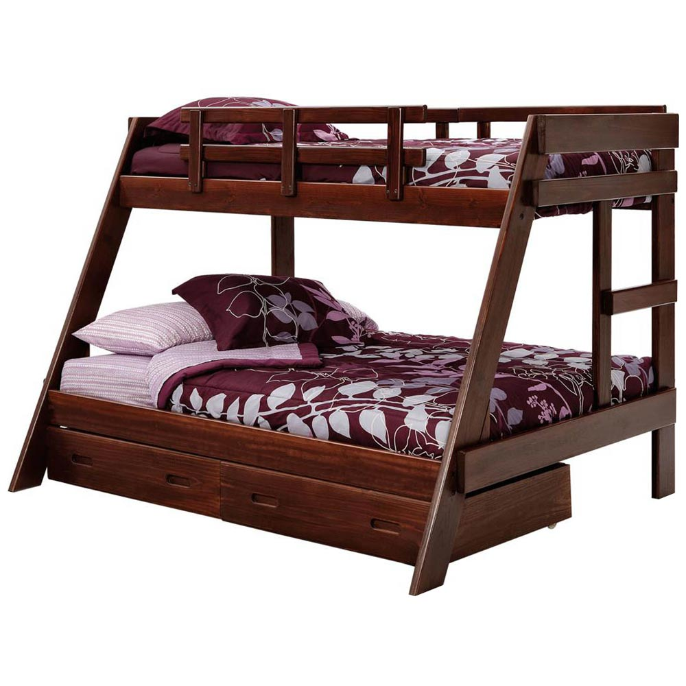 Twin over full a frame bunk bed under bed storage dark for Bunk bed and bang