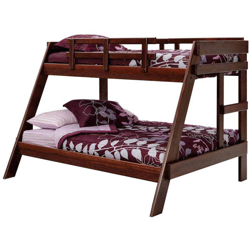 Twin Over Full A Frame Bunk Bed Dark Brown Finish Dcg