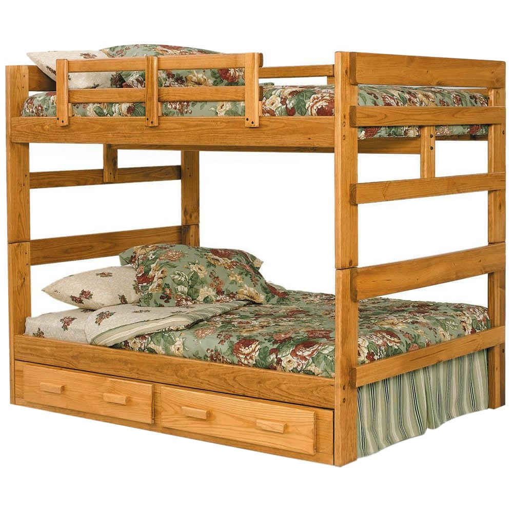 Full Over Full Bunk Bed Under Bed Storage Honey Finish Dcg Stores