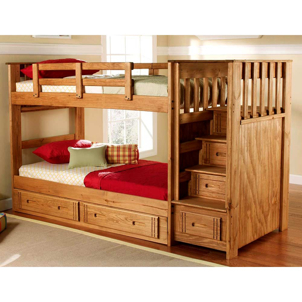 Twin bunk bed staircase drawers under bed storage honey dcg stores - Kids bed with drawers underneath ...