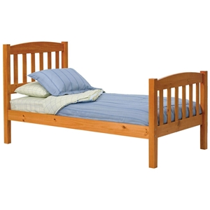 Twin Arched Slat Panel Bed - Honey Finish