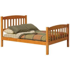Full Arched Slat Panel Bed - Honey Finish