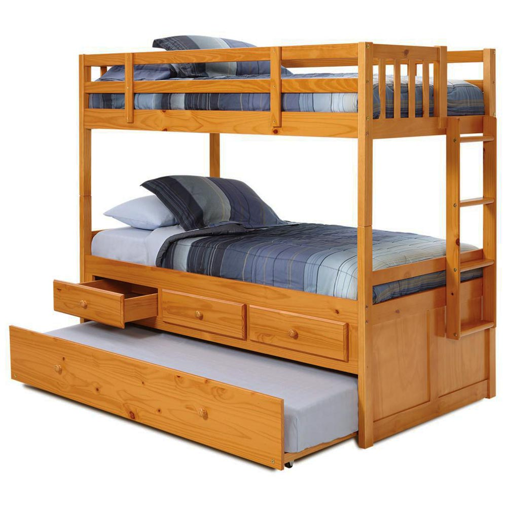 Twin Mission Storage Bunk Bed Trundle Unit Honey Finish