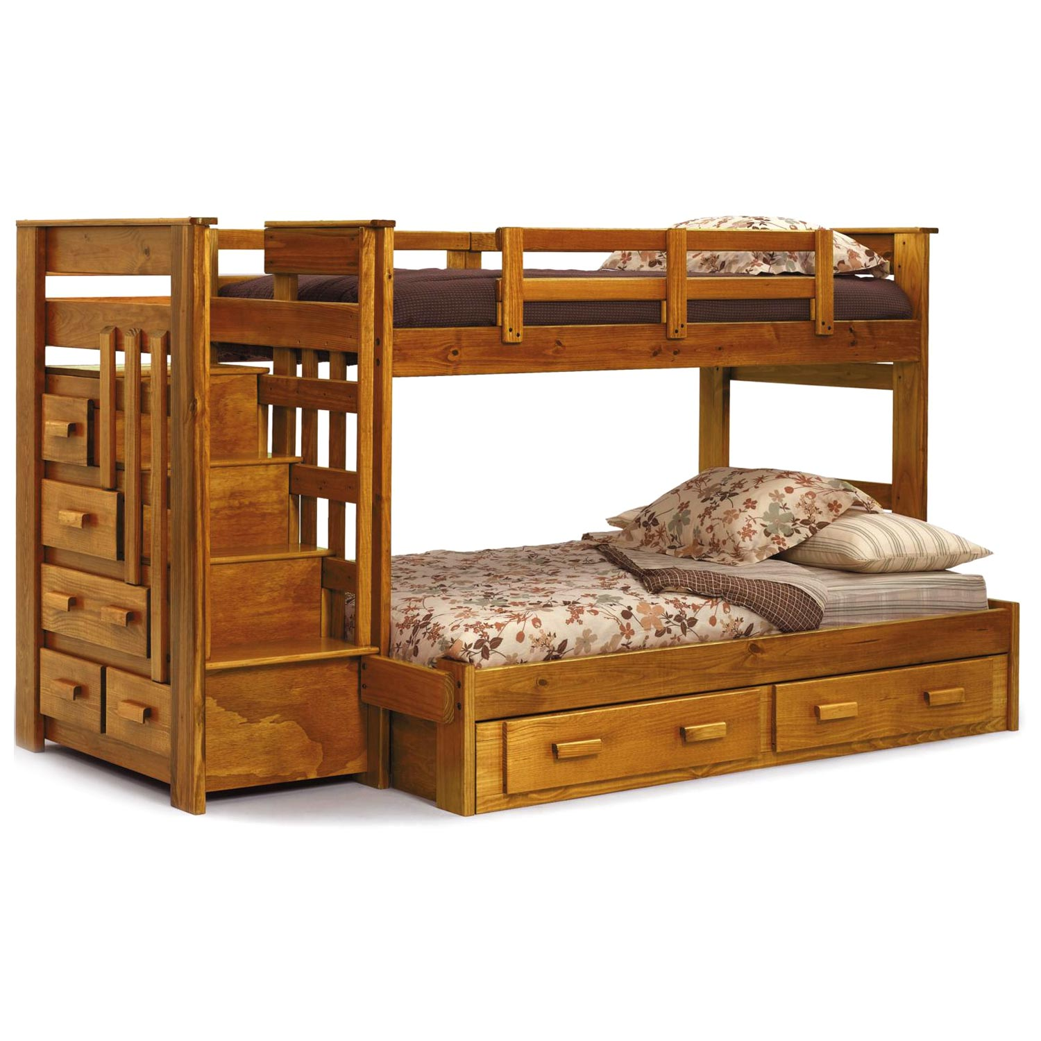 Twin Over Full Storage Bunk Bed Rectangular Drawer