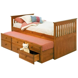 Twin Mission Bed - Trundle Unit, Storage Drawers, Honey