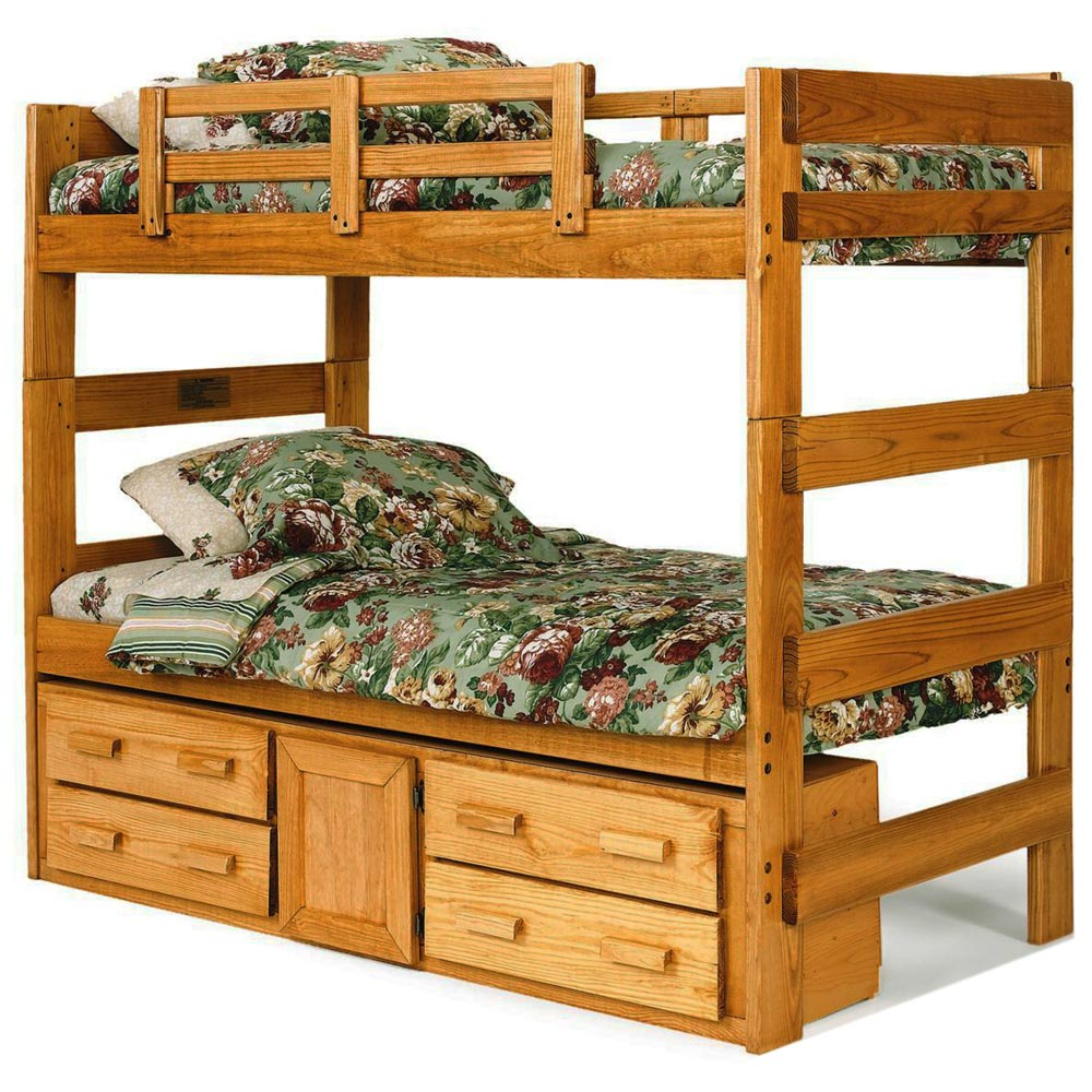 Extra Tall Twin Bunk Bed - Under Bed Storage, Honey Finish