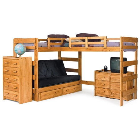 L shaped loft bed over futon under bed storage honey finish dcg stores - Loft bed with drawers underneath ...