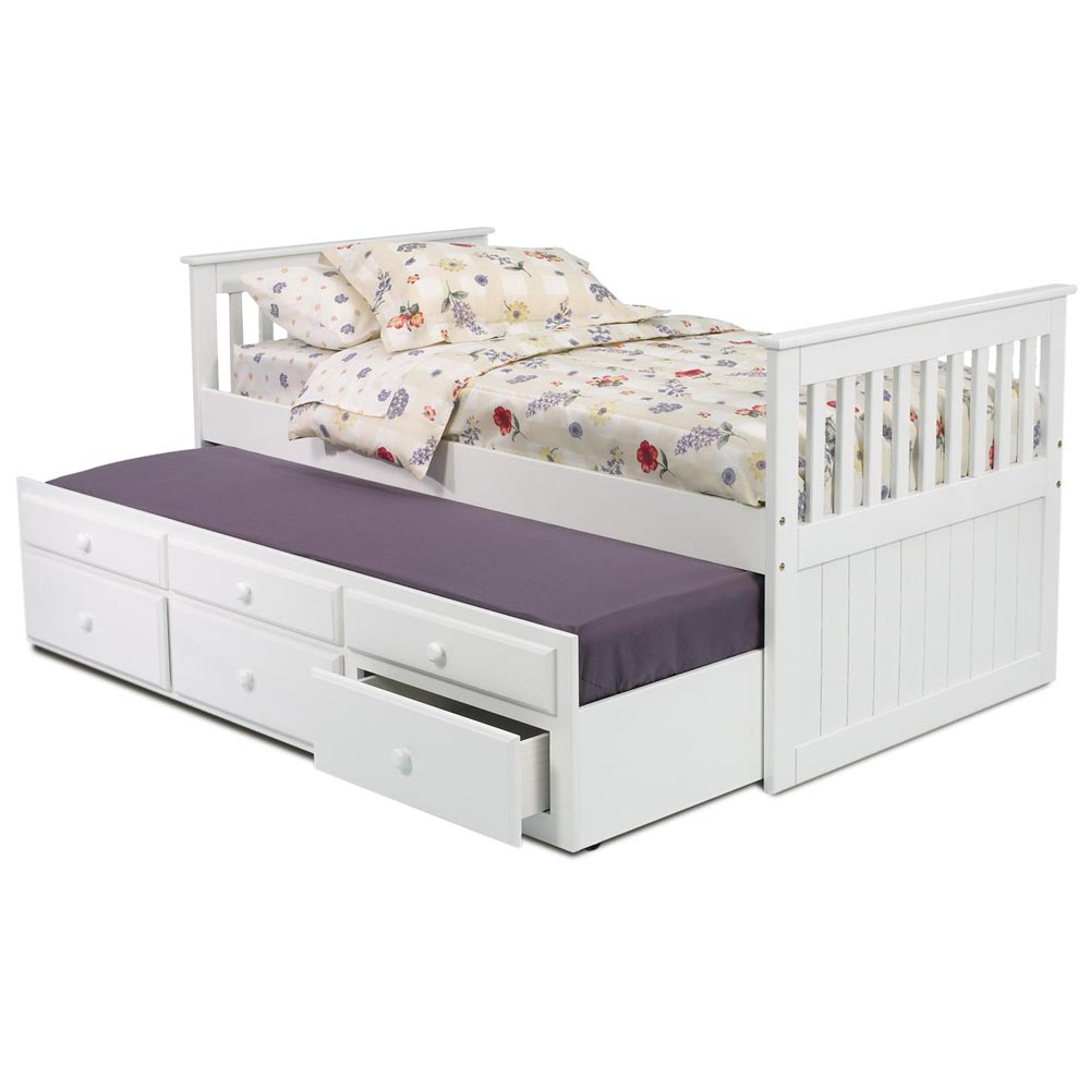 twin captain 39 s bed trundle unit white finish dcg stores. Black Bedroom Furniture Sets. Home Design Ideas