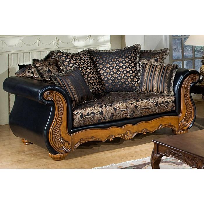 Traditional Living Room Sofa Sets: Winnie Candytuft Storm Fabric Traditional Living Room Sofa