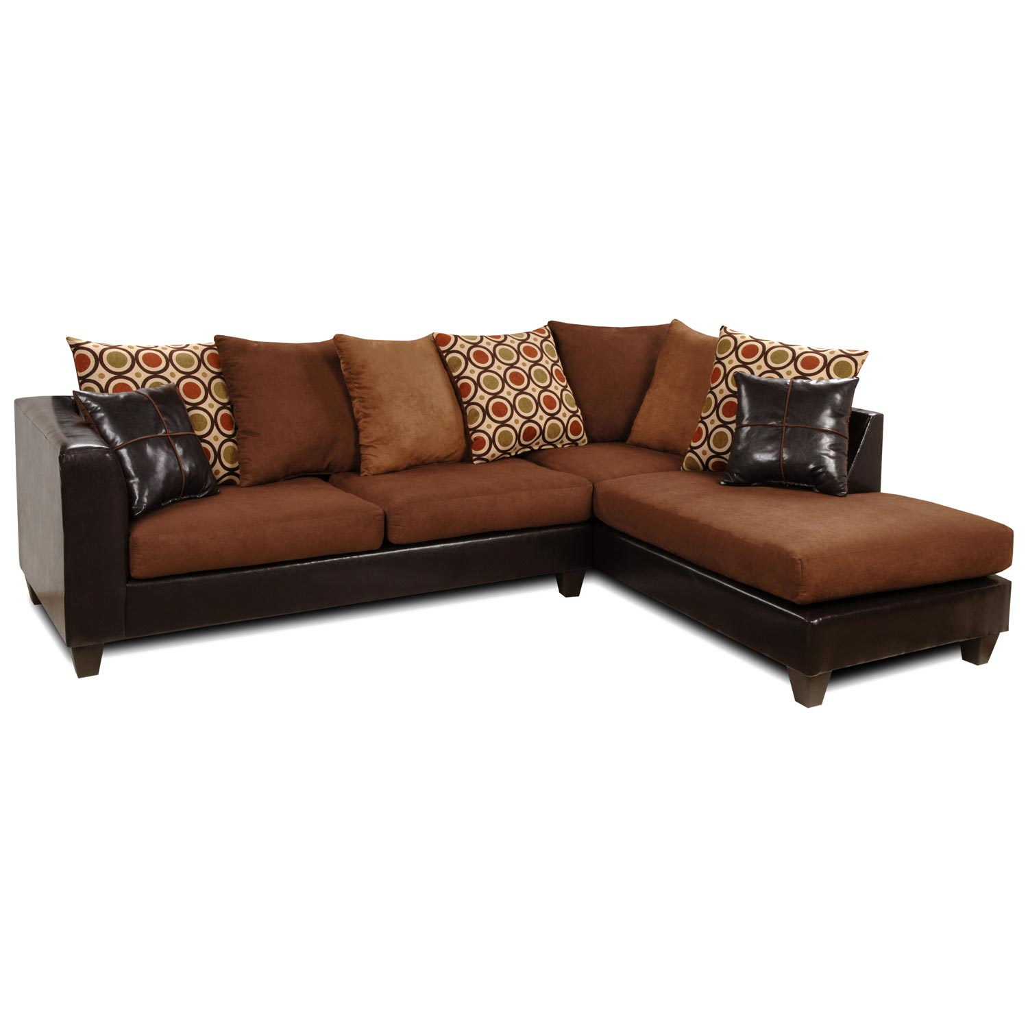 Ashley Chaise Sectional Sofa - Multicolored Pillows