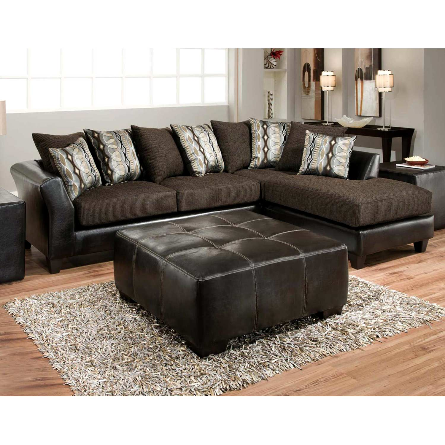 zeta sofa chaise sectional jefferson chocolate. Black Bedroom Furniture Sets. Home Design Ideas
