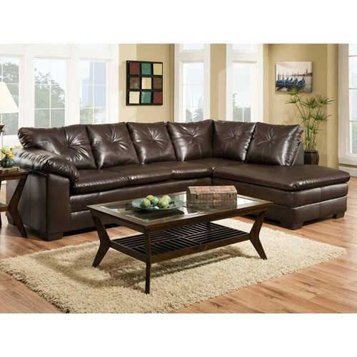 rho tufted chaise sectional sofa freeport brown upholstery dcg stores. Black Bedroom Furniture Sets. Home Design Ideas