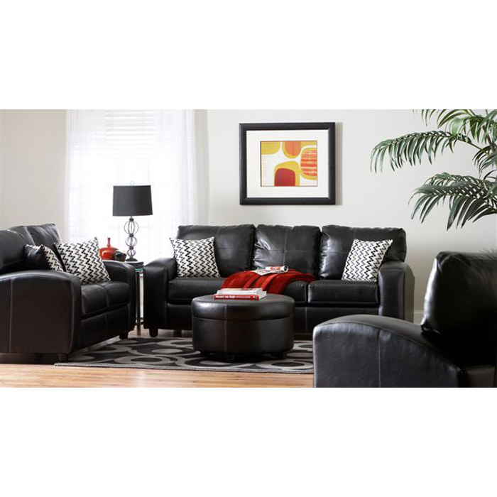 Rona 4 Piece Living Room Sofa Set In Ebony Black Dcg Stores