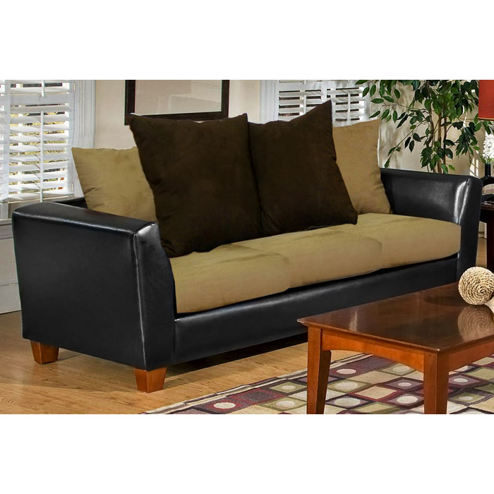 Jane 3 piece modern sofa set in black and mocha dcg stores for 3 piece black modern sectional sofa