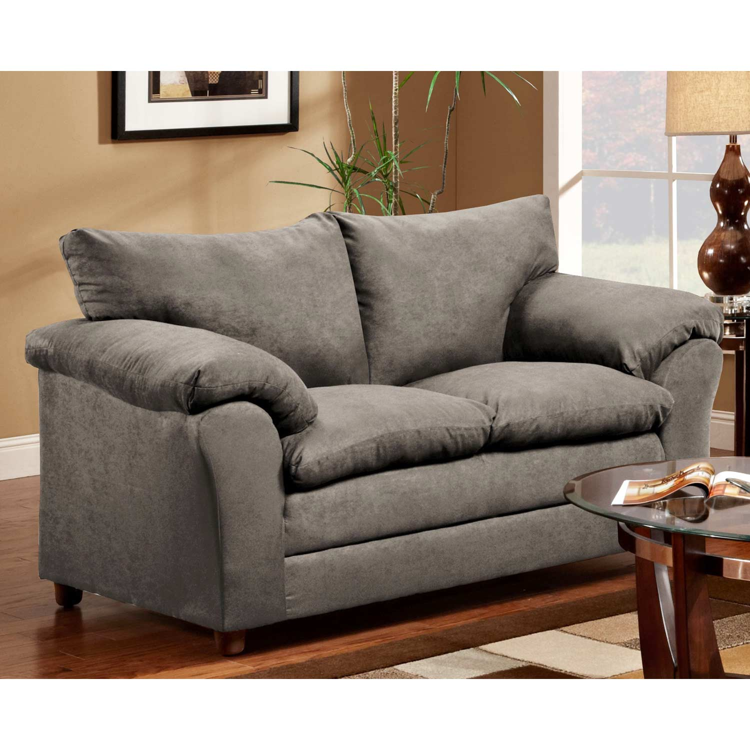 Gail Pillow Top Arm Loveseat - Flat Suede Graphite - CHF-471150-L-FG