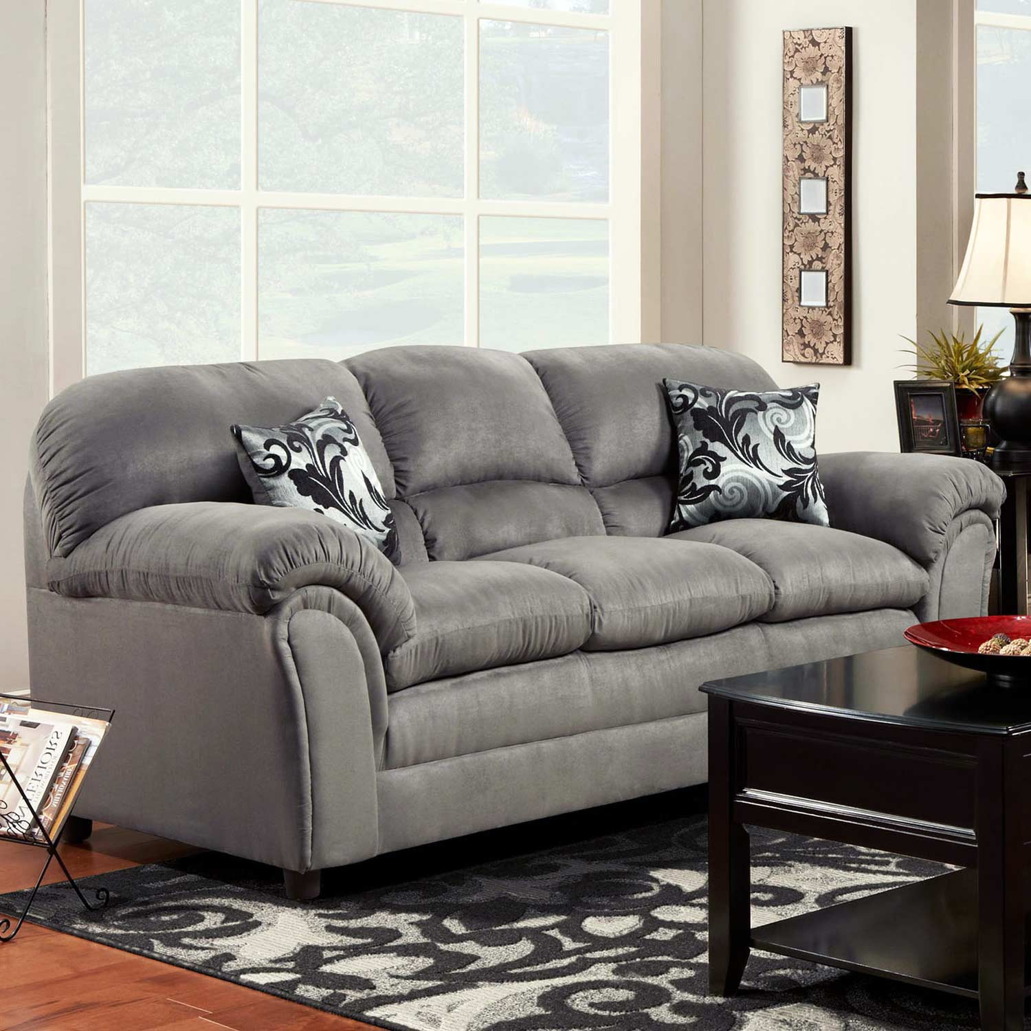 Joyce Padded Fabric Sofa - Victory Lane Dolphin - CHF-471250-S-VLD