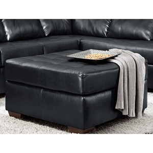 Rachel Tufted Ottoman - Contempo Black Upholstery