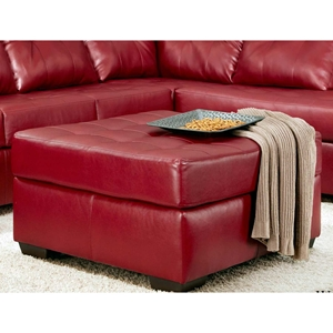 Rachel Tufted Ottoman - Contempo Red Upholstery