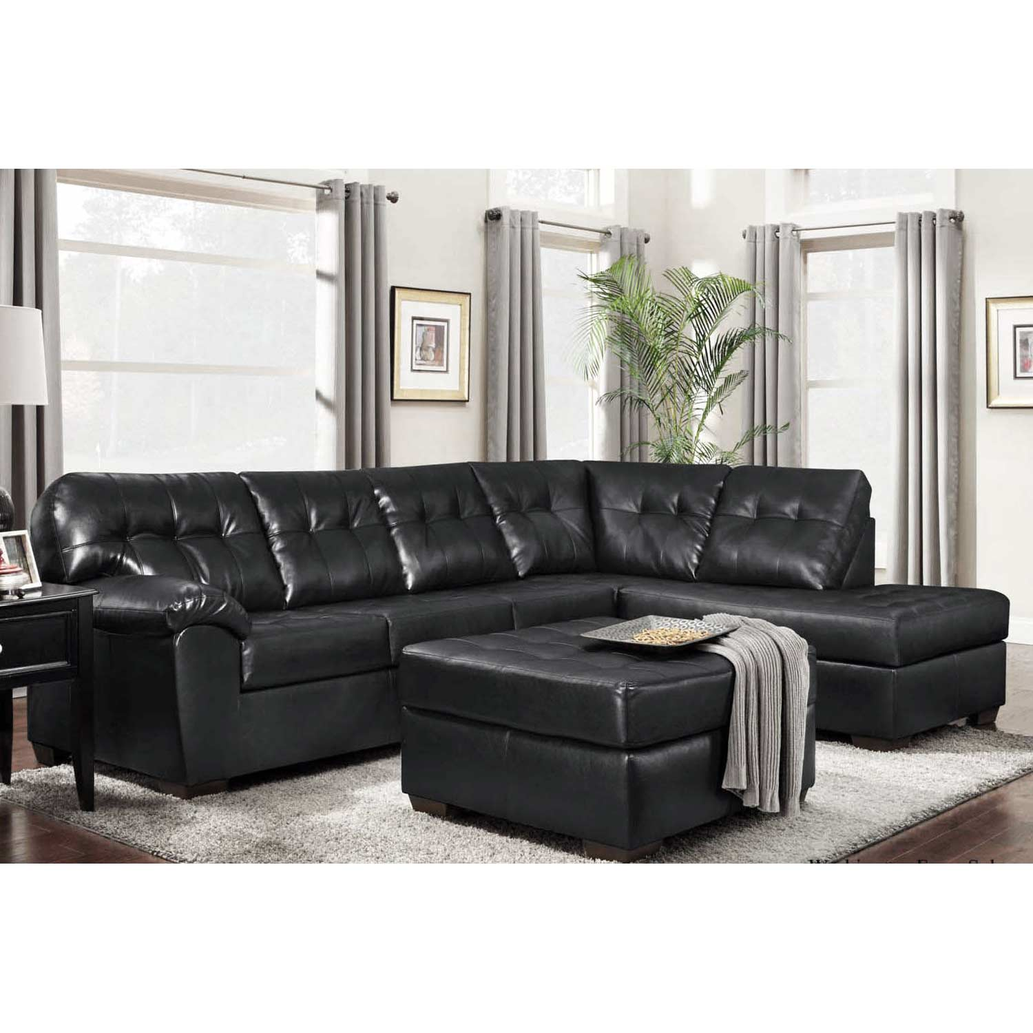 Rachel Tufted Chaise Sectional Sofa Contempo Black