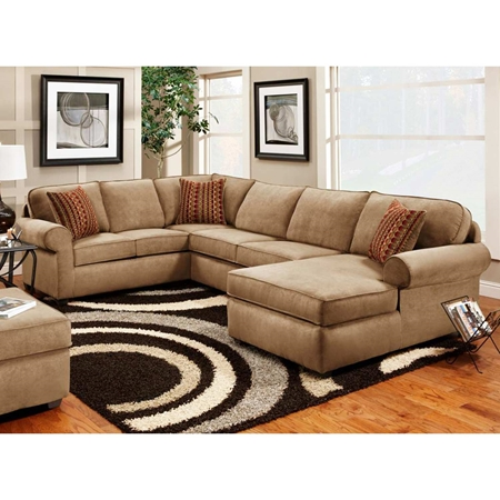 Vera 3 Piece Chaise Sectional Victory Lane Taupe Fabric