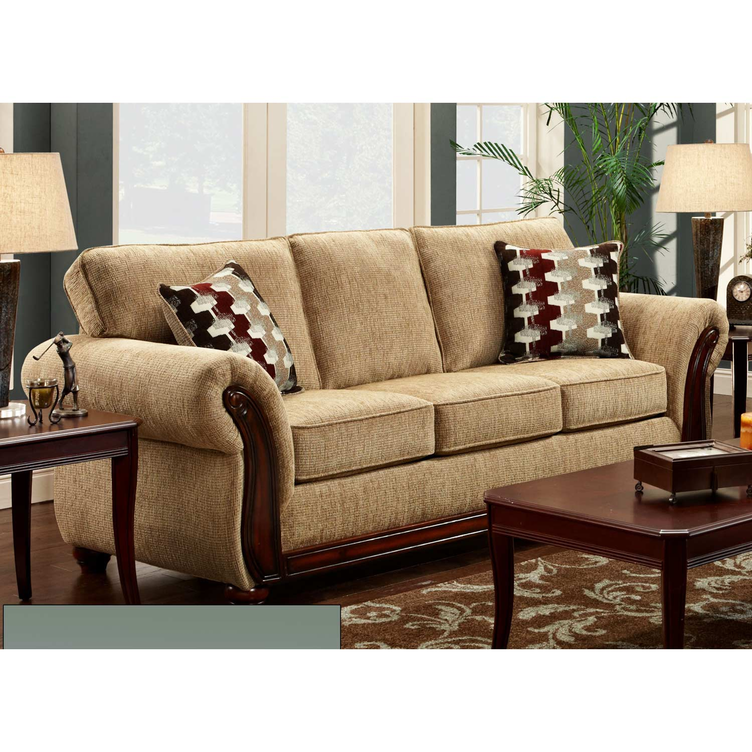 Courtney Rolled Arm Sofa - Wood Trim, Radar Havana - CHF-478100-S-RH