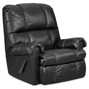 Grace Leather Rocker Recliner Chair - Tufting, Apache Black