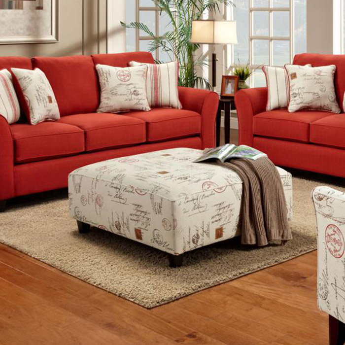 Gloucester Ottoman In Postale Ruby Print Fabric Dcg Stores