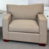 Sophie Contemporary Chair - Block Wood Feet, Textured Fabric - CHF-50100-CH