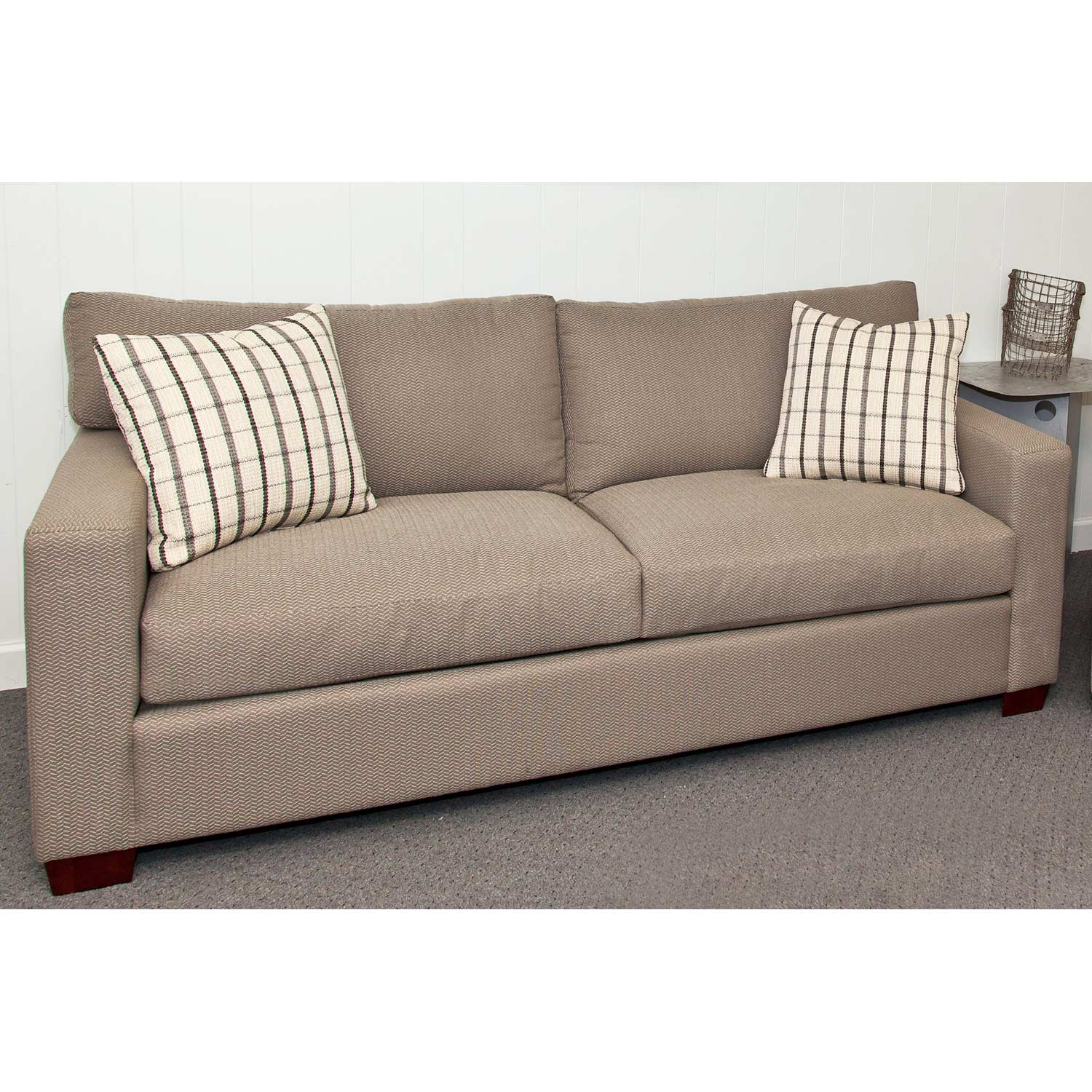 Sophie Contemporary Sofa - Block Wood Feet, Textured Fabric - CHF-50100-S