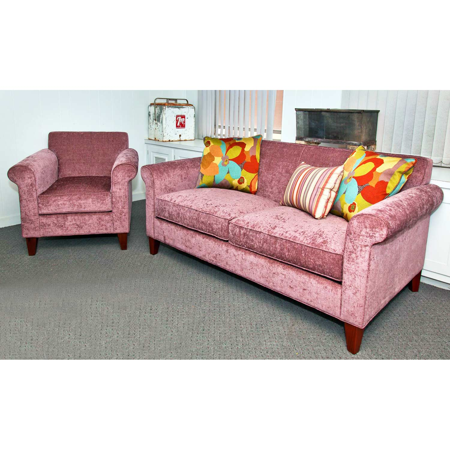 Katie velvety rolled arm sofa xanadu wild orchid dcg for Wild orchid furniture