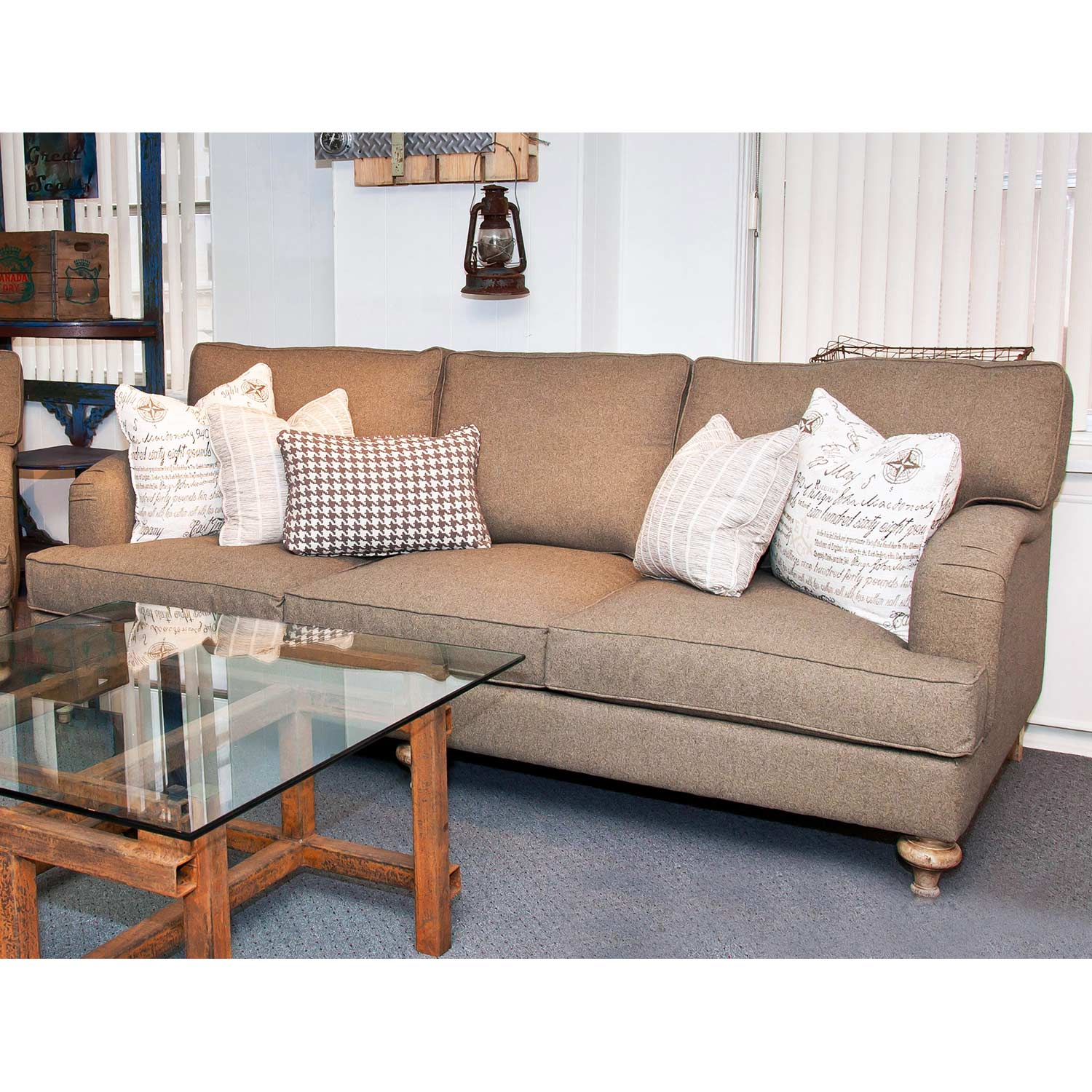 Ryder Transitional Sofa - Turned Feet, Highlands Mohair Fabric - CHF-50125-S