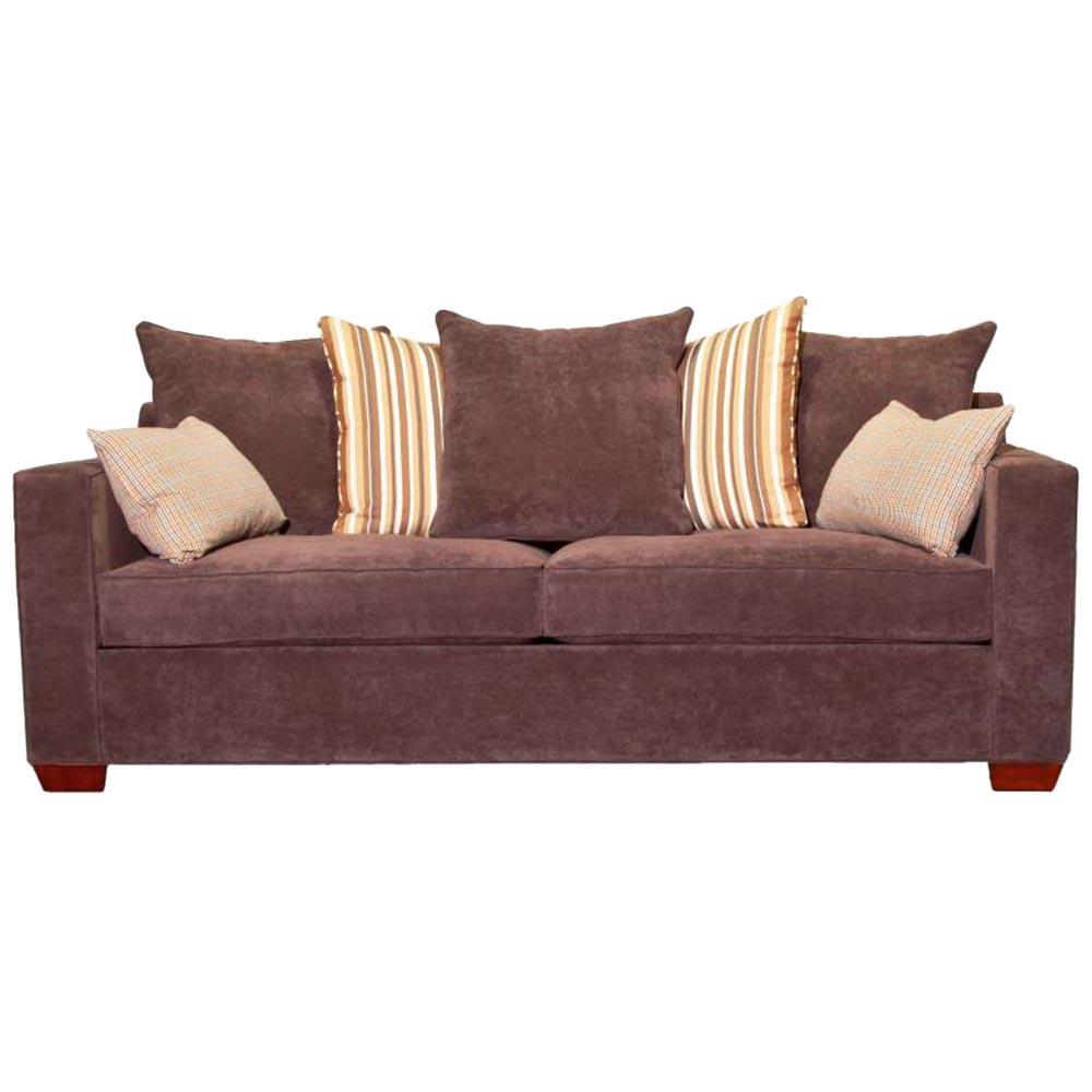 Regina Track Arm Sleeper Sofa Velvety Churchill Basalt Fabric Dcg Stores