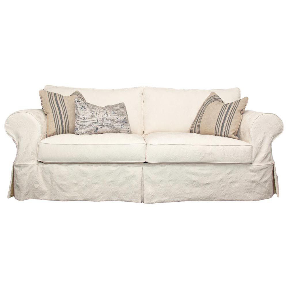 Gordon Skirted Slipcover Rolled Arm Sofa - Who Natural Fabric | DCG