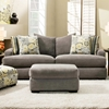 Pansy Pillow Back Sofa - Patterned Pillows, Heather Seal Fabric - CHF-527813