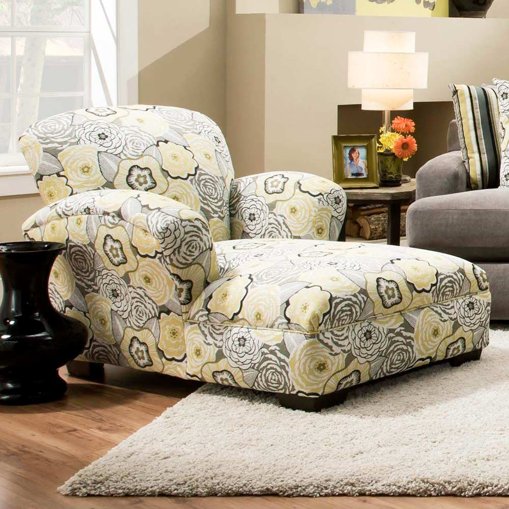 Pansy Floral Print Chaise Lounge - Ava Yellowgray Fabric - CHF-527815