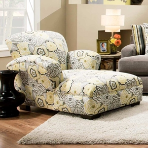 Pansy Floral Print Chaise Lounge - Ava Yellowgray Fabric