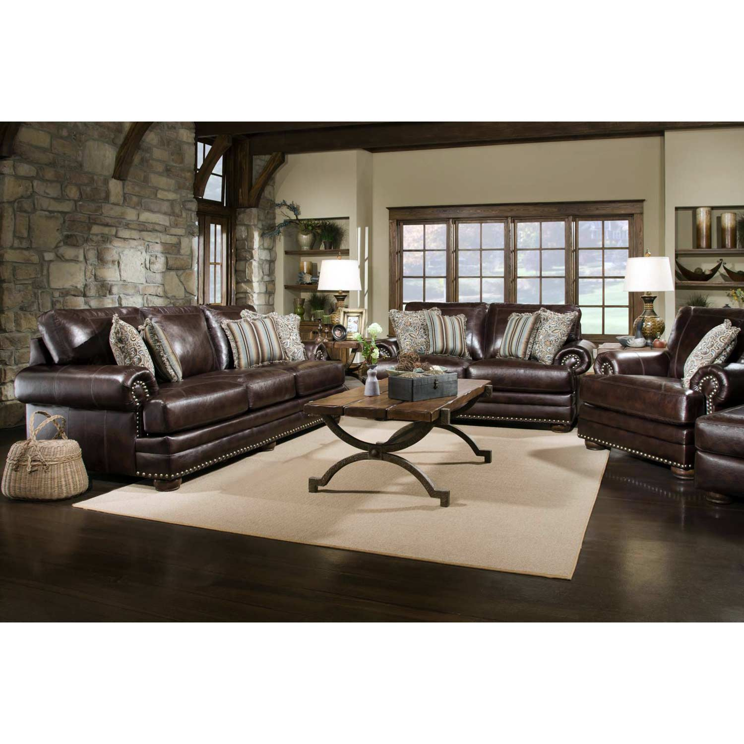 Rose Upholstered Loveseat - Nail Heads, Bun Feet, Chocolate - CHF-529002