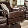 Rose Upholstered Chair - Nail Heads, Bun Feet, Chocolate - CHF-529001