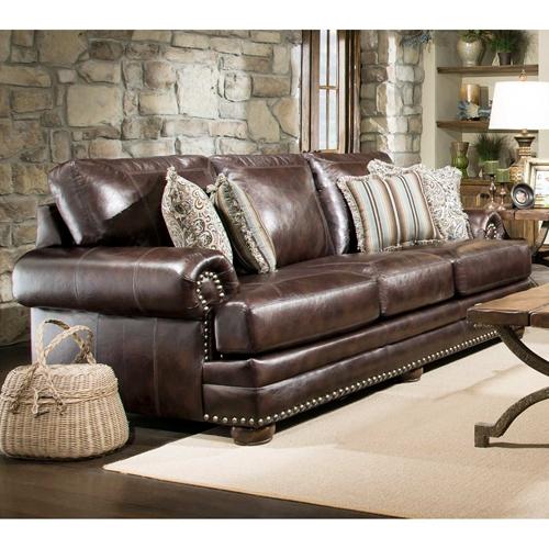 Rose Upholstered Sofa Nail Heads Bun Feet Chocolate