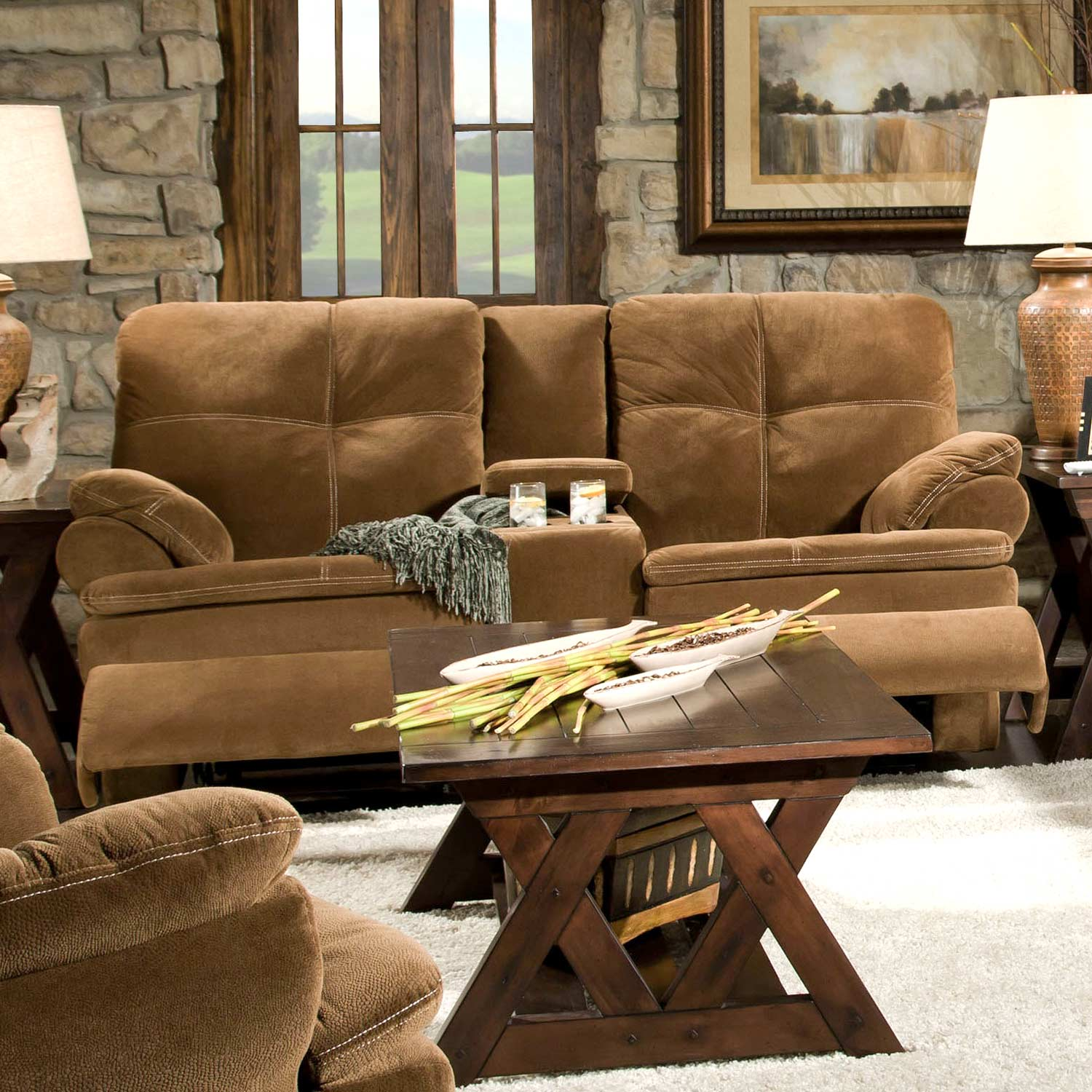 Oak Reclining Loveseat - Console, Nightparty Tobacco Fabric - CHF-52909-40