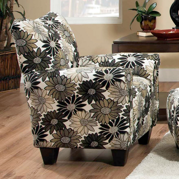 Daisy Floral Accent Chair - Springfever Stone Fabric - CHF-52AC1342A