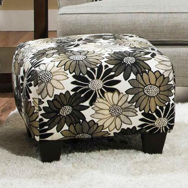 Daisy Floral Accent Ottoman - Springfever Stone Fabric - CHF-52AO1342A