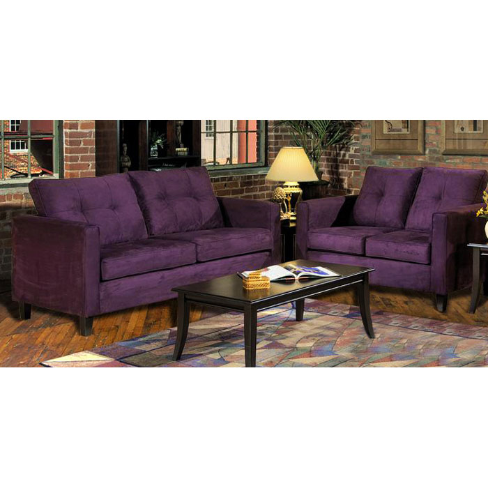 Heather Eggplant Living Room Sofa Set With Tufted Accents Dcg Stores