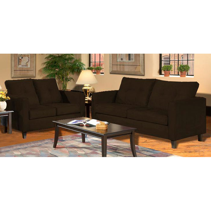 Heather Java Living Room Sofa Set With Tufted Accents Dcg Stores
