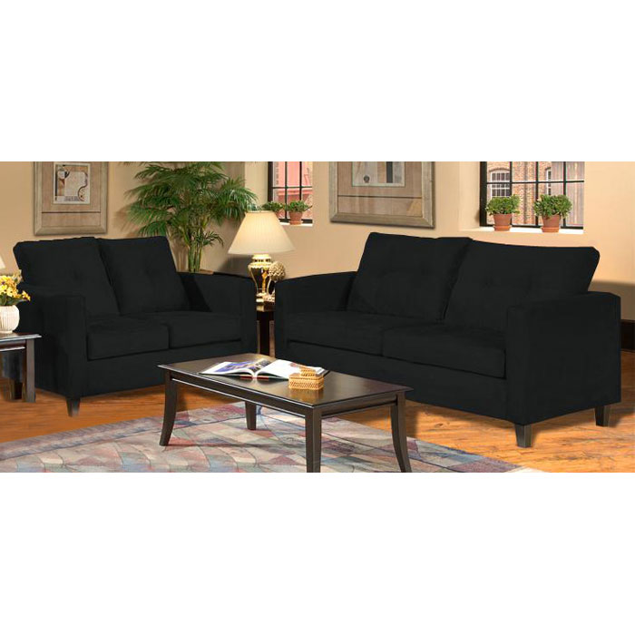 Heather Black Living Room Sofa Set with Tufted Accents - CHF-5900-BBK-SET