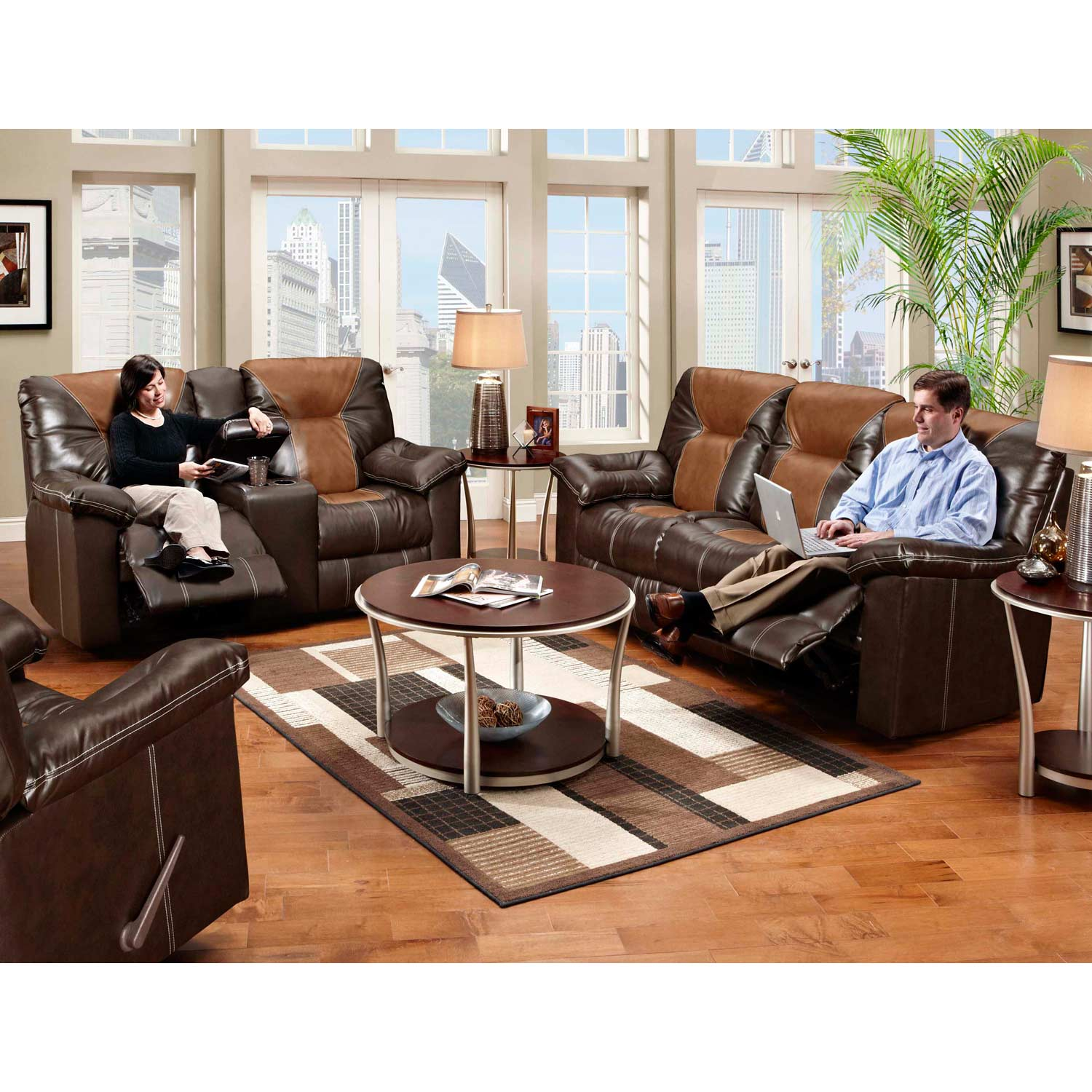Greensboro Two-Toned Double Reclining Sofa - Contrast Stitching - CHF-595150-61